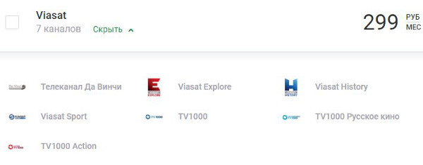 "Пакет каналов ""Viasat"""